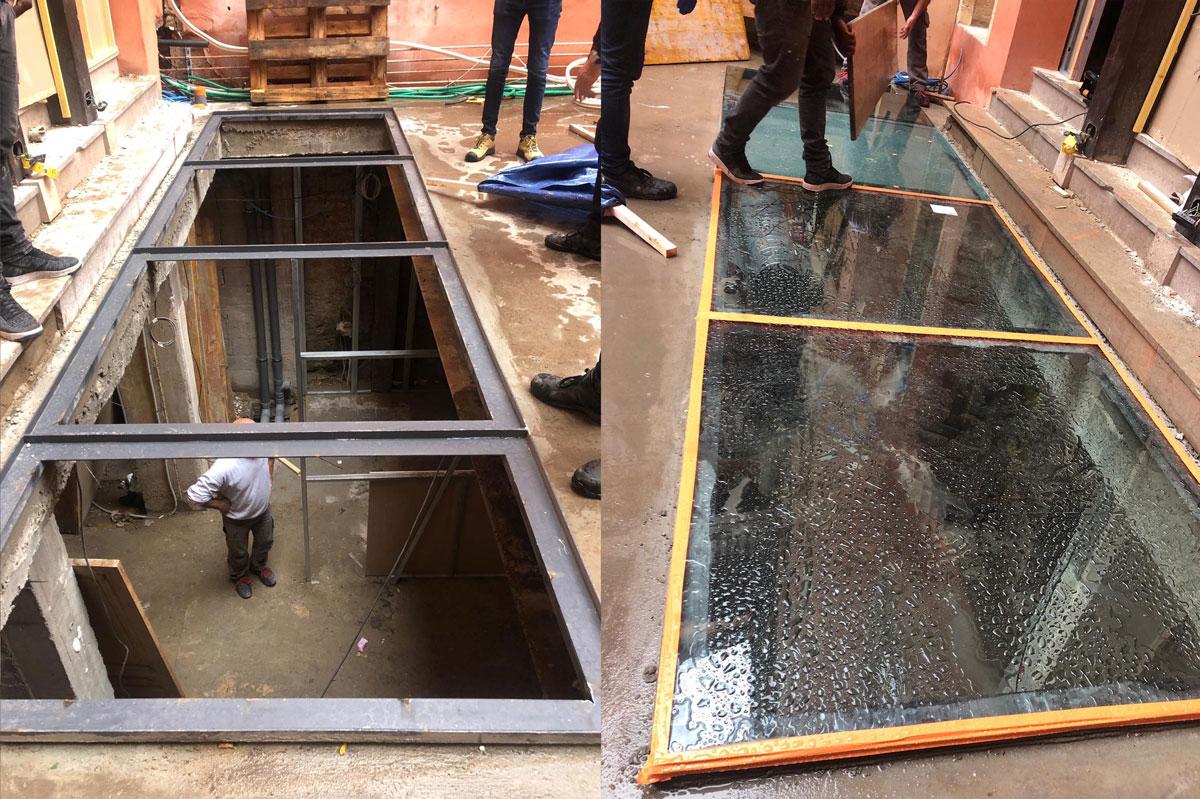 Dalle de sol, planche en verre feuilleté par la Miroiterie du Rhône